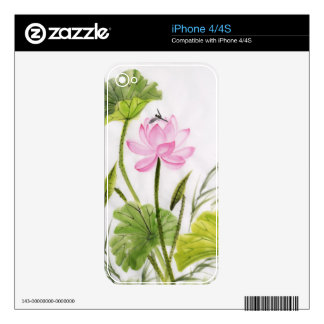 Watercolor Painting Of Lotus Flower 2 Decals For The iPhone 4