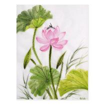 Watercolor Painting Of Lotus Flower 2 Postcard
