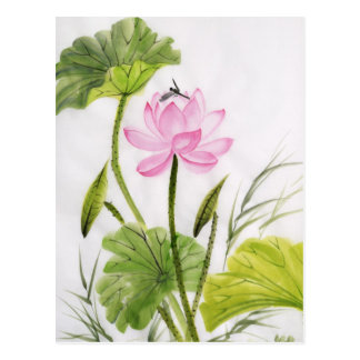 Watercolor Painting Of Lotus Flower 2 Postcard