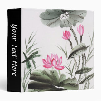 Watercolor Painting Of Lotus Flower 3 Ring Binder