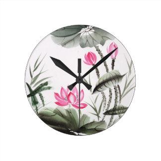 Watercolor Painting Of Lotus Flower Round Clock