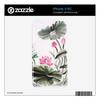 Watercolor Painting Of Lotus Flower iPhone 4 Skins
