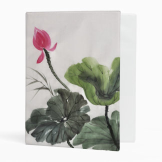Watercolor Painting Of Lotus Flower Mini Binder