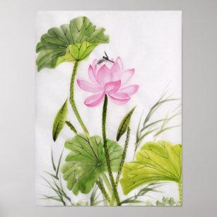 Paint lotus flower posters photo prints zazzle watercolor painting of lotus flower poster mightylinksfo