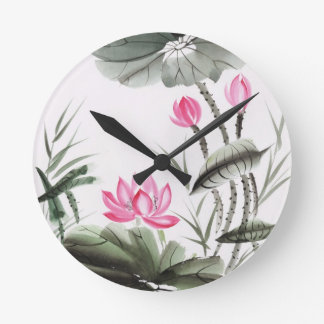 Watercolor Painting Of Lotus Flower Round Clock