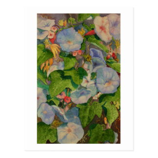Watercolor painting of morning glory blossoms postcard