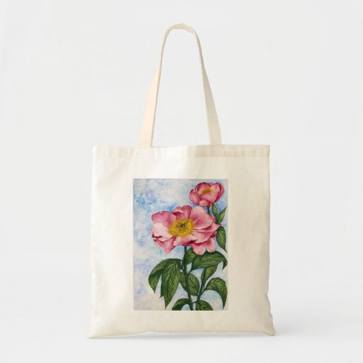 Watercolor Painting of two Pink Camellia Flowers Canvas Bags