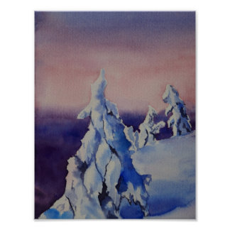 Watercolor painting of winter sunset landscape poster