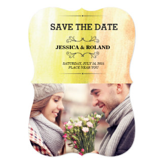 watercolor painting photo save the date 5x7 paper invitation card