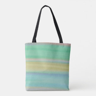 Watercolor painting pink green blue yellow tote bag