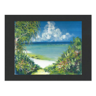 Watercolor Painting Postcard Okinawa Shore