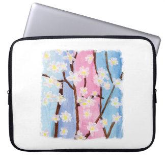 Watercolor Painting Sakura Flowers Laptop Sleeve