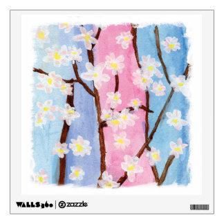 Watercolor Painting Sakura Flowers Wall Sticker