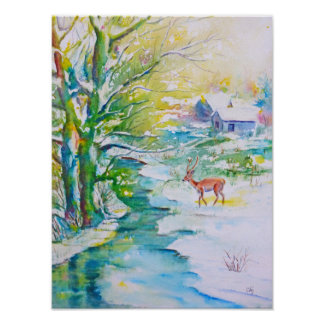 Watercolor Painting Snow Deer Stream Landscape Poster