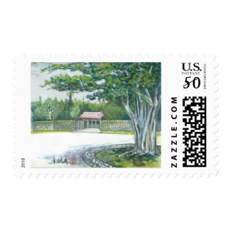 Watercolor painting stamps Okinawa Banyan Gate