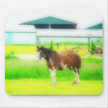 Watercolor Painting Style Clydesdale Draft Horse Mouse Pad
