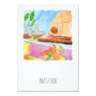 Watercolor Painting with Bird in Nature Card