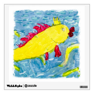 Watercolor Painting with Golden King Fish Wall Sticker