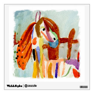 Watercolor Painting with Multicolored Horse Wall Decal