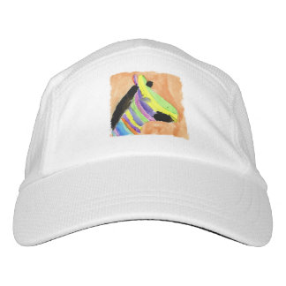 Watercolor Painting with Rainbow Zebra Headsweats Hat