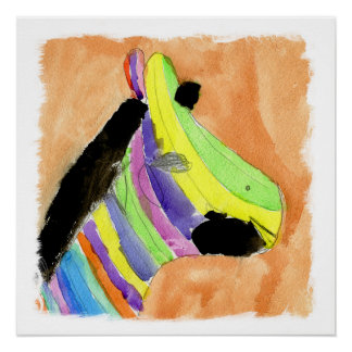 Watercolor Painting with Rainbow Zebra Poster
