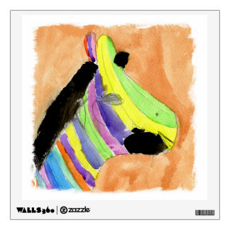 Watercolor Painting with Rainbow Zebra Wall Decal