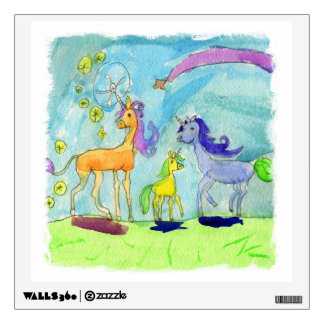 Watercolor Painting with Unicorn Pony Family Wall Sticker