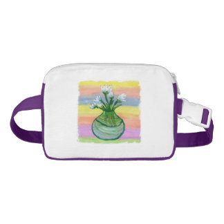 Watercolor Painting with White Flowers Pot Waist Bag