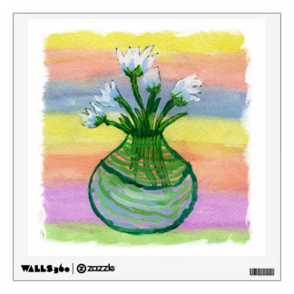 Watercolor Painting with White Flowers Pot Wall Decal