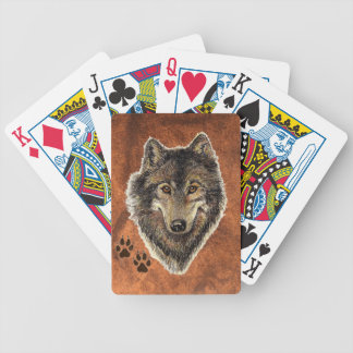Watercolor Painting Wolf with Animal Tracks Bicycle Playing Cards