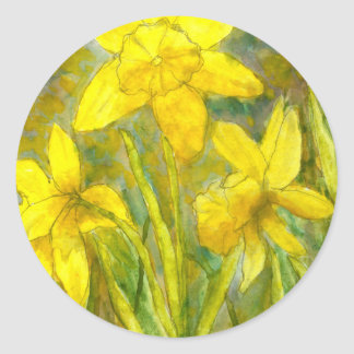 Watercolor Painting, Yellow Flowers Art, Daffodils Classic Round Sticker