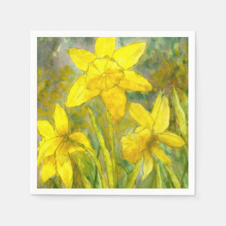 Watercolor Painting, Yellow Flowers Art, Daffodils Paper Napkin