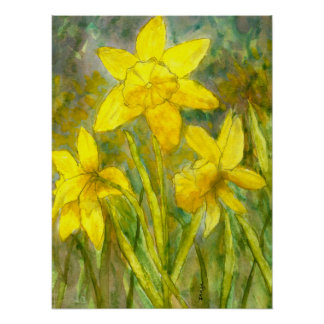 Watercolor Painting, Yellow Flowers Art, Daffodils Poster
