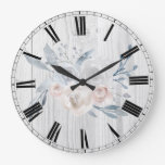 watercolor pale flowers on rustic white wood large clock