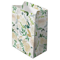 Watercolor Pale Peonies and Gold Glitter Foliage Medium Gift Bag