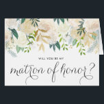 """Watercolor Pale Peonies Be My Matron of Honor Card<br><div class=""""desc"""">Ask your friends and family to be a part of your wedding with this floral &quot;Will You Be My Matron of Honor&quot; card featuring watercolor peonies with gold foil and gold glitter accents with feminine calligraphy script. Matching items are available.</div>"""