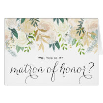 Watercolor Pale Peonies Be My Matron of Honor Card