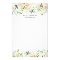 Watercolor Pale Peonies Gold Accents Personalized Stationery