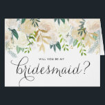 """Watercolor Pale Peonies Will You Be My Bridesmaid Card<br><div class=""""desc"""">Ask your friends and family to be a part of your wedding with this floral &quot;Will You Be My Bridesmaid&quot; card featuring watercolor peonies with gold foil and gold glitter accents with feminine calligraphy script. Matching items are available.</div>"""