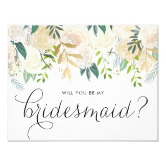 Watercolor Pale Peonies Will You Be My Bridesmaid Invitation