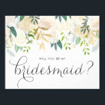 """Watercolor Pale Peonies Will You Be My Bridesmaid Invitation<br><div class=""""desc"""">Ask your friends and family to be a part of your wedding with this floral &quot;Will You Be My Bridesmaid&quot; card featuring watercolor peonies with gold foil and gold glitter accents with feminine calligraphy script. Matching items are available.</div>"""