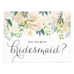 Watercolor Pale Peonies Will You Be My Bridesmaid Postcard<br><div class='desc'>As your friends and family to be a part of your wedding with this floral &quot;Will You Be My Bridesmaid&quot; card featuring watercolor peonies with gold foil and gold glitter accents with feminine calligraphy script. Matching items are available.</div>