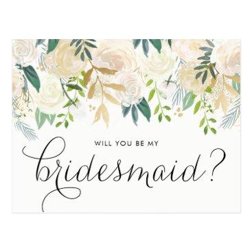 misstallulah Watercolor Pale Peonies Will You Be My Bridesmaid Postcard