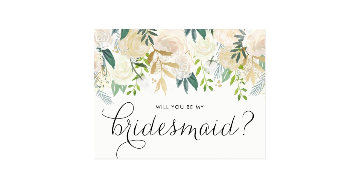 Watercolor Pale Peonies Will You Be My Bridesmaid Postcard | Zazzle.com