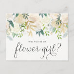 "Watercolor Pale Peonies Will You Be My Flower Girl Invitation Postcard<br><div class=""desc"">Ask your friends and family to be a part of your wedding with this floral &quot;Will You Be My Flower Girl&quot; card featuring watercolor peonies with gold foil and gold glitter accents with feminine calligraphy script. Matching items are available.</div>"