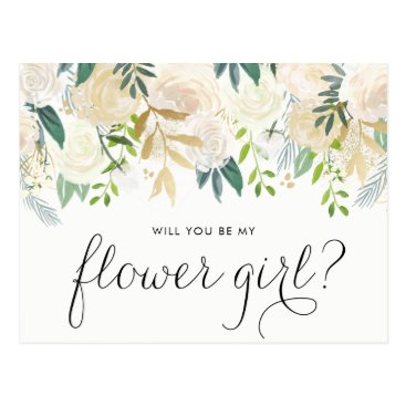 misstallulah Watercolor Pale Peonies Will You Be My Flower Girl Postcard