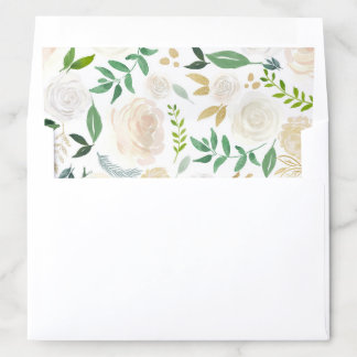 Watercolor Pale Peonies with Gold Glitter Leaves Envelope Liner