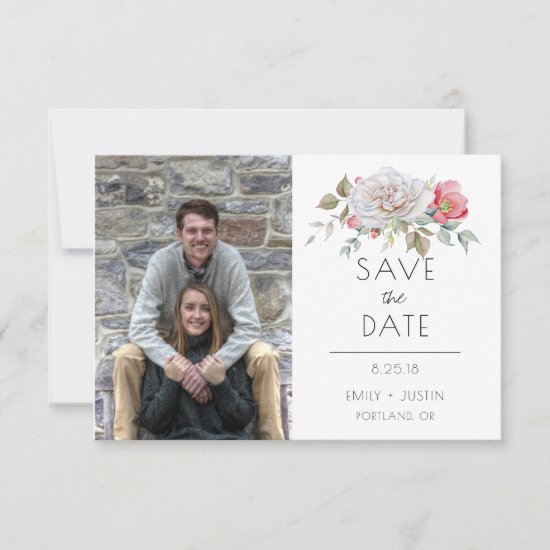 Watercolor Pale Pink Roses Photo Save the Date