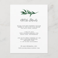 Watercolor Palm Guest Information Card