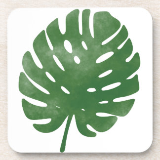 Watercolor palm leaves pattern coaster